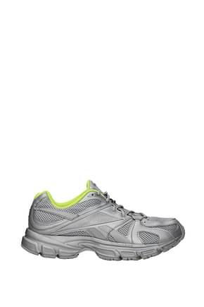 Vetements Design Sneakers reebok Herren Stoff Silber Gelb Fluo