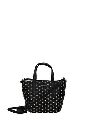 Jimmy Choo Handbags sara Women Leather Black Silver