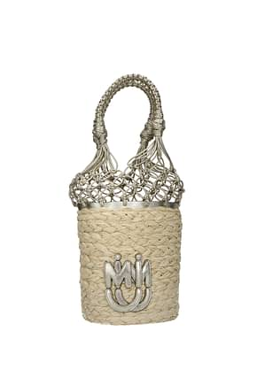 Miu Miu Handbags Women Straw Beige Platinum