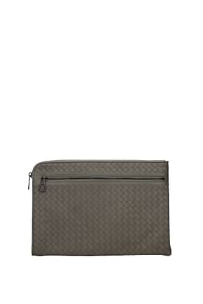 Bottega Veneta Clutches Men Leather Gray Fog
