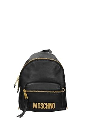 Moschino Backpacks and bumbags Women Leather Black Gold