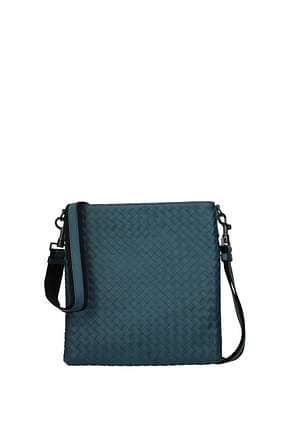 Bottega Veneta Crossbody Bag Men Leather Blue Dk Chambray