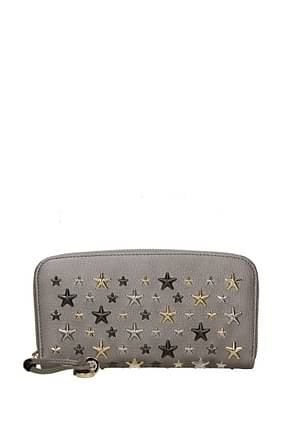 Jimmy Choo Wallets Women Leather Gray