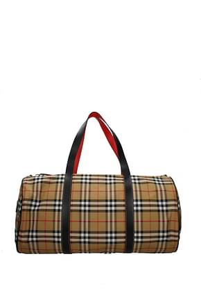 Burberry Travel Bags Men Fabric  Beige Black