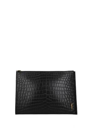 Saint Laurent Clutches Men Leather Black