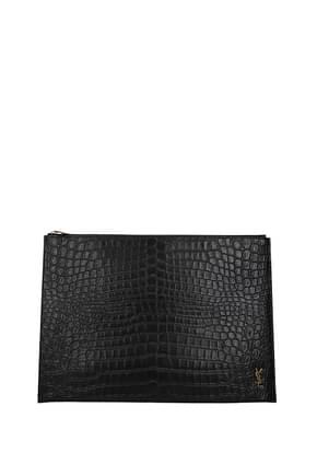 Saint Laurent Clutches Men Leather Black