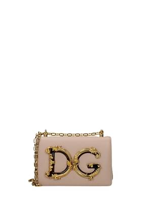 Dolce&Gabbana Crossbody Bag Women Leather Pink Powder Pink