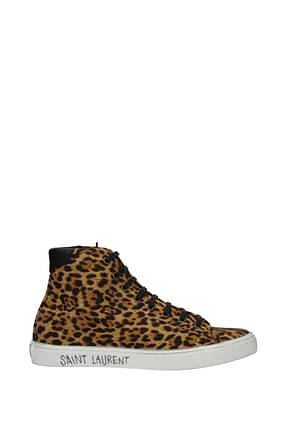 Saint Laurent Sneakers Uomo Tessuto Marrone