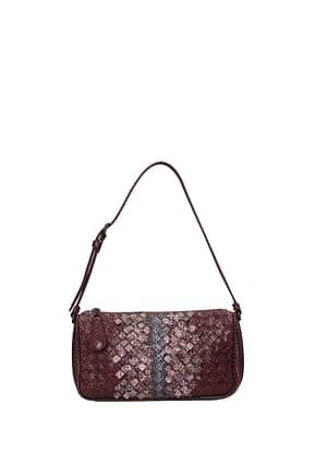 Bottega Veneta Shoulder bags Women Leather Snake Violet
