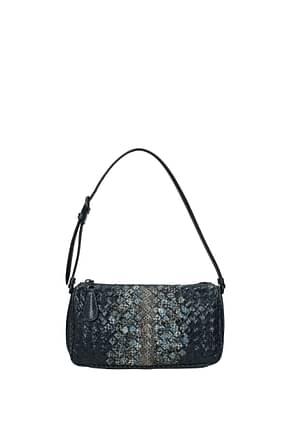 Bottega Veneta Shoulder bags Women Leather Snake Blue