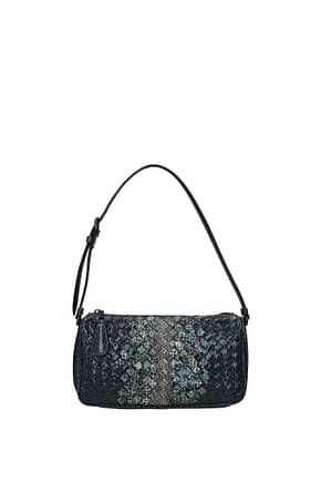Bottega Veneta Shoulder bags Women Leather Snake Blue