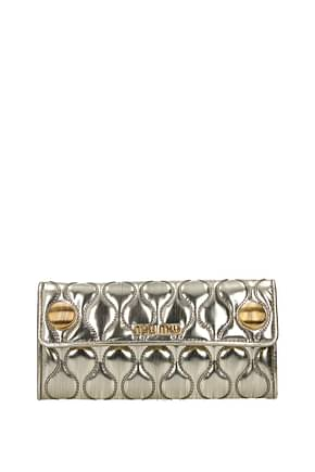 Miu Miu Wallets Women Leather Gold