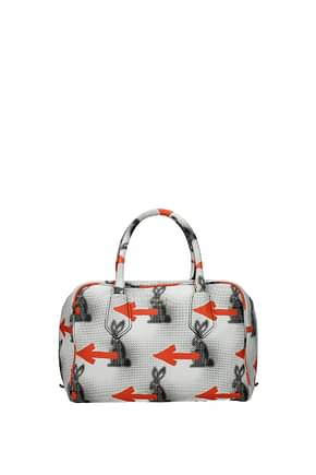 Prada Handbags Women Leather White Orange