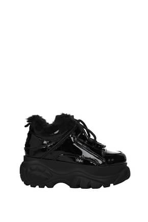 Buffalo Sneakers Women Patent Leather Black