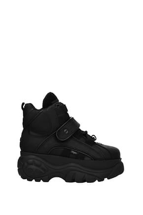 Buffalo Sneakers Women Rubberized Leather Black