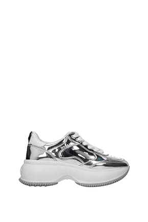 Hogan Sneakers maxi i active Women Leather Silver White