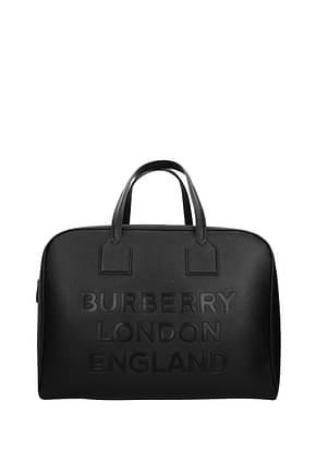Burberry Travel Bags Men Leather Black