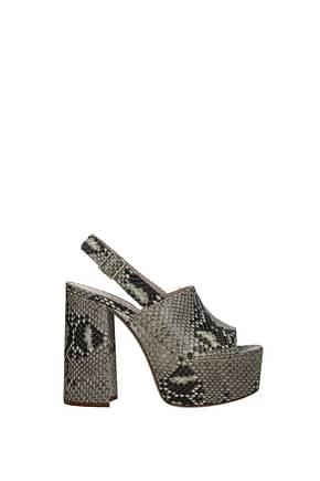 Miu Miu Sandals Women Leather Gray